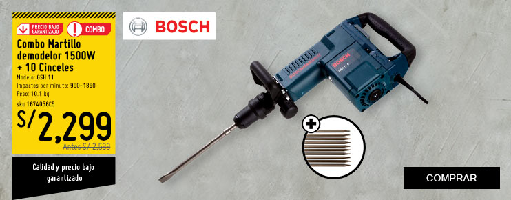 Combo Martillo demodelor 1500 W + 10 Cinceles