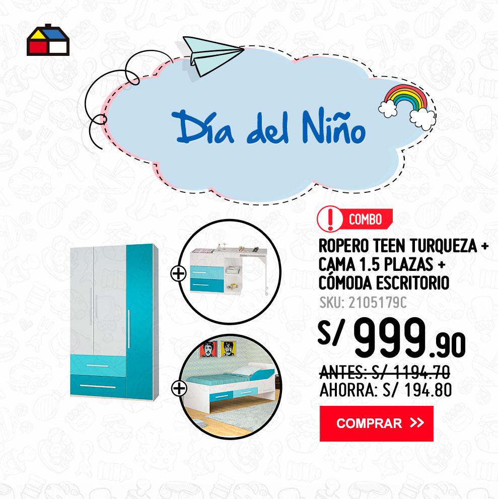 Combo-Ropero-Teen-Turqueza-+-Cama-1.5-plazas-+-Comoda-escritorio