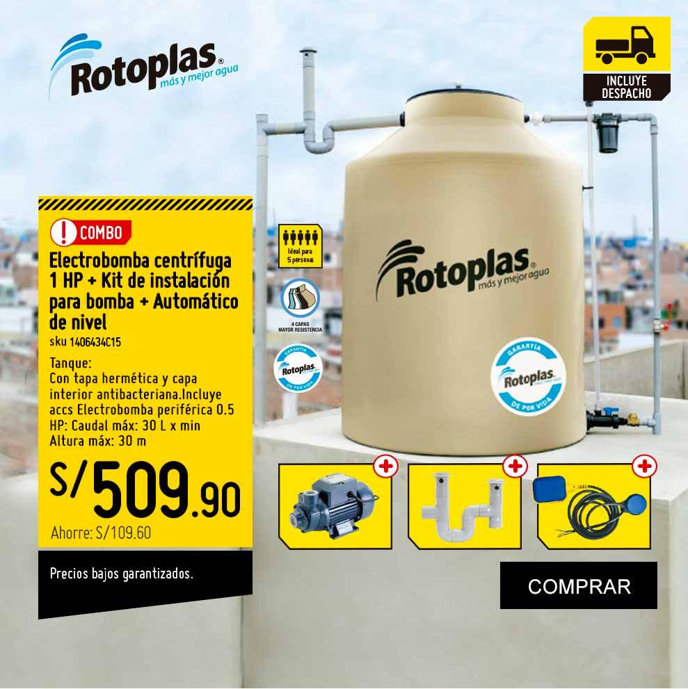 Combo Tanque Agua 1100L Arena + Electrobomba Periférica 0.5 HP + Kit para desfogue de tanque + Automático de Nivel
