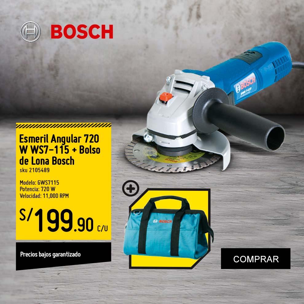 Esmeril Angular 720 W WS7-115 + Bolso de Lona Bosch