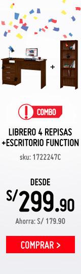 Combo-Librero-4-repisas-cafe-+-Escritorio-Funtion-Cafe